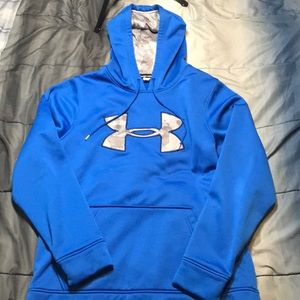 Men's Small Under Armor Blue and Gray Camo Hoodie